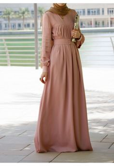 Modest long sleeve maxi dress full length stylish trendy fashion | Mode-sty – Mode-sty