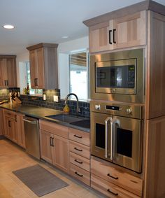 Rustic Hickory Cabinets and Monogram French Door Wall Oven