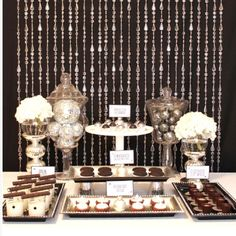 Black and white dessert table hotel party, holiday tab Hotel Party, Dessert Party, Dessert Buffet, Candy Buffet, Candy Table, Party Candy, Elegant Dessert Table, Lolly Buffet, Party Sweets