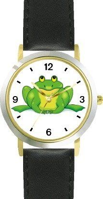 Green Frog Cartoon - JP Animal - WATCHBUDDY® DELUXE TWO-TONE THEME WATCH - Arabic Numbers - Black Leather Strap-Size-Children's Size-Small ( Boy's Size & Girl's Size ) WatchBuddy. $49.95