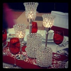 Love Goblets, Red and White Damask Runner with Red Sashes for Borders and Bling Centerpieces make this beautiful setting for and intimate dinner!