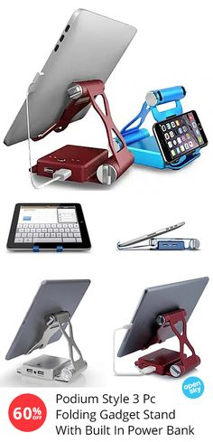 Stay connected everywhere you go with this podium-style tablet and smartphone stand that folds up like origami! Not only does it come in 7 bright colors to choose from, it also features a built-in power bank and a large velvet carrying pouch.