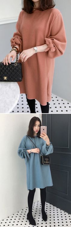 Complete your doll-like look with this Solid Tone Self-Tie Cuff Dress. #koreanfashion #women #autumnstyle