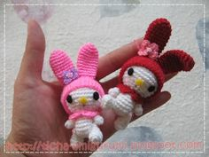 My Melody tiny bunny free crochet pattern on Amigurumi Crochet Pattern at http://ticha-amigurumi.blogspot.fr/2011/02/my-melody-free-pattern-size-is-approx.html