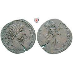 Römische Kaiserzeit, Lucius Verus, Sesterz 164, ss+: Lucius Verus 161-169. Messing-Sesterz 32 mm 164 Rom. Kopf r. mit Lorbeerkranz L… #coins