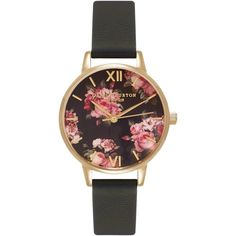 Olivia Burton OB15RB06 Women's Winter Garden Leather Strap Watch,... ($98) ❤ liked on Polyvore featuring jewelry, watches, accessories, bracelets, leather strap watches, polish jewelry, flower jewelry, flower watches and floral watches