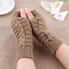Unisex Knitted Fingerless Gloves Soft Warm Mitten sale