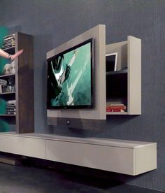 Modern TV Wall Mount Ideas For Your Best Room TV Wall Mount Ideas for Living Room, Awesome Place of Television, nihe and chic designs, modern decorating ideas. Diy Tv Wall Mount, Wall Mounted Tv, Mount Tv, Wall Tv Stand, Support Mural Tv, Rack Tv, Wall Racks, Entertainment Wall Units, Tv Stand Designs