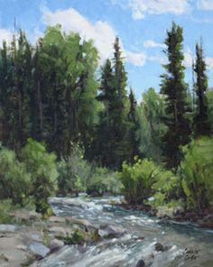 Summer Sparkle - Original Oil Painting by Carole Cooke - 10 x 8 - $1,800 Available for purchase at JBArtConsultants.com Landscape Paintings, Oil Paintings, Landscapes, Western Art, Sculpture, Mountains, Gallery, Drawings, Sparkle