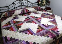 Queen/king Bed Quilt Batik Log Cabin PRAIRIE JEWELS by QuiltLover, $465.00 Log Cabin Quilts, Lap Quilts, King Beds, Queen Beds, Quilting Projects, Quilting Ideas, Quilt Patterns, Quilt Bedding, Quilt Art