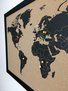 Cork World Map, Cork Map, World Map Decor, Map Wall Decor, Map Wall Art, Travel Symbols, Pin Art, Us Map, Travel Memories
