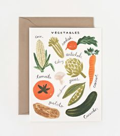 Vegetables Card  Corn, celery, and mushrooms, oh my! Our vegetables card is adorned with a variety of illustrated vegetables that look good enough to eat! Share with friends, family, and your favorite chef.