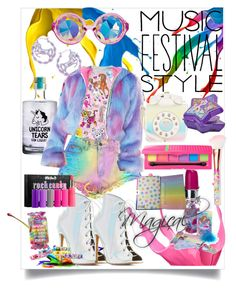 """""""Festival style..Lisa Frank inspired"""" by heatherbellalove ❤ liked on Polyvore featuring Charlotte Russe, Paul Frank, J. Valentine, Betsey Johnson, Kat Von D, Me & Zena, Glamour Dolls and lisa"""