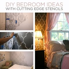 DIY Bedroom Ideas with Cutting Edge Stencils - Stencil Stories easy room makeover ideas Diy Projects For Bedroom, Home Projects, Diy Bedroom Decor, Diy Home Decor, Bedroom Ideas, Bedroom Wall, Teen Projects, Easy Projects, Cutting Edge Stencils