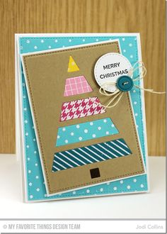 Hand Lettered Holiday, Diagonal Stripes Background, Houndstooth Background, Grid Background, Swiss Dots Background, Tiny Stars Background, Button Quartet Die-namics, Christmas Tree Cutout Die-namics, Stitched Circle STAX Die-namics, Stitched Rectangle STAX Die-namics - Jodi Collins  #mftstamps