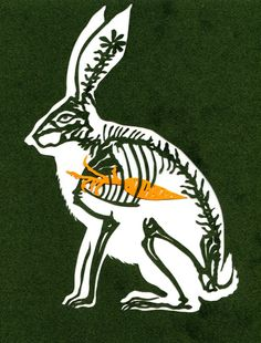 "inkhead: "" what rabbit ate, paper cut, 2013 thinking of doing this in 3D…. hmmmm bone a day  inkhead """