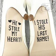 hochzeitsschuhe spruch schuhe He Stole My Heart So I Stole His Last Name Wedding Shoe Decals, Shoe Decals, Wedding Shoe Stickers, Vinyl Shoe Decals, Vinyl Shoe Stickers Cowgirl Wedding, Wedding Boots, Wedding Pics, Wedding Styles, Wedding Ideas, Wedding Dresses, Camo Wedding, Wedding Rustic, Wedding Album