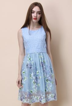 Flowery Moments Embroidered Flare Dress