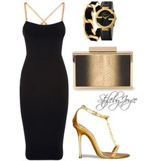 Black//Gold by styledbyjmini on Polyvore featuring polyvore, fashion, style, Victoria Beckham, Elie Saab, Gucci and Chanel