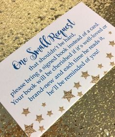 20 Book Request Cards For Boy Baby Shower Invitation Insert - Blue And Gold Star #Unknown #BabyShower