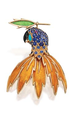 18 KARAT GOLD, ENAMEL AND COLORED STONE BROOCH, SCHLUMBERGER FOR TIFFANY & CO., FRANCE