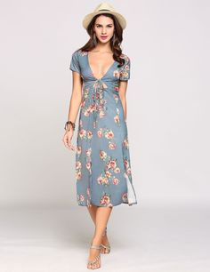 Plunge Collar Boho Styles Cut Out Belted Front Print Lacing Going Out Dress