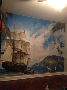 Pirate Ship Mural Space/ Galaxy Mural By Caroline Woods In Phoenix AZ |  Mural Inspiration | Pinterest | Pirate Ships, Phoenix And Woods Part 95
