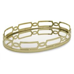 Brass and Mirror Oval Tray