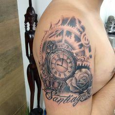 Reloj, tatuajes de reloj, tatuajes de rosas