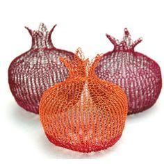 Wire crochet decorative pomegranates