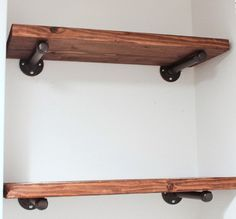Industrial Floating Wall Shelf with pipe supports.  Urban Restoration Hardware inspired.  Vintage decor.  Shelves over toilet in mater bathroom-- Adam likes these/said he wants to do this-- look for vanity/other ideas based off of this look
