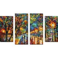 Picture Perfect International 'When The Dreams Came True' by Leonid Afremov 4 Piece Painting Print on Wrapped Canvas Set