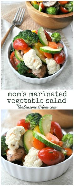 My Mom's Marinated Vegetable Salad is a simple, nutritious, and flavor-packed way to enjoy summer's fresh produce. Make it in advance and you have a cool, crisp, and refreshing side dish for just about any summer potluck, picnic, or weeknight dinner.