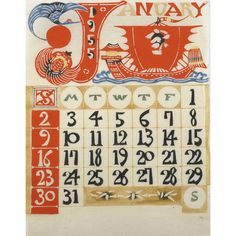 KEISUKE SERIZAWA (Japanese, 1895-1984) Calendar, 1955  Eight pieces: Wood engravings in colors on rice paper in folio