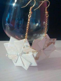 Orecchini pendenti origami gold and white di Origart su Etsy
