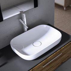 Lavabo da appoggio rettangolare 75 Bianco Shui - Lavabo Bianco da ...