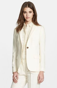 """Free shipping and returns on Burberry London 'Larston' Mulberry Silk Jacket at Nordstrom.com. <p><B STYLE=""""COLOR:#990000"""">Pre-order this style from the Pre-Fall 2015 collection! Limited quantities. Ships as soon as available. You'll be charged only when your item ships.</b></P><br>A single horn button secures the classic silhouette of this roomy tailored jacket, refined in Italian mulberry silk."""