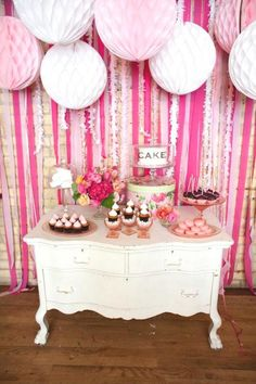 Pink Dessert Table | Bridal shower ideas, I love the cake plate labeled CAKE !