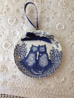 Loving hearts cat plate from  England by 2Heartsstudio on Etsy, $12.00 great wedding gift :)
