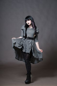 Steampunk - Goth Doll Striped Dress Cowl Hooded Hi-Low Gothic Alternative Clothing Petite to Plus size Custom to Order XXS-5XL by KMKDesignsllc
