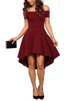 It's easy to achieve a perfect date night look with this burgundy off-shoulder high-low skater dress.