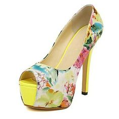 Leatherette Upper Women's Stiletto Heel Peep Toe Pumps with Flower Print Shoes   – USD $ 34.99