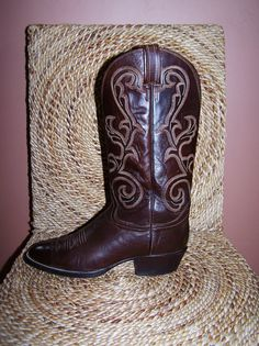 Western Boots Cowboy Boots Brown Leather by GreenMarketVintage