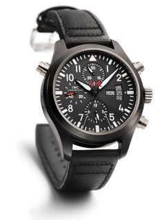 IWC Top Gun Ceramic Double Chronograph. Everything about this watch is badass....including the Top Gun logo on the under side of the casing.