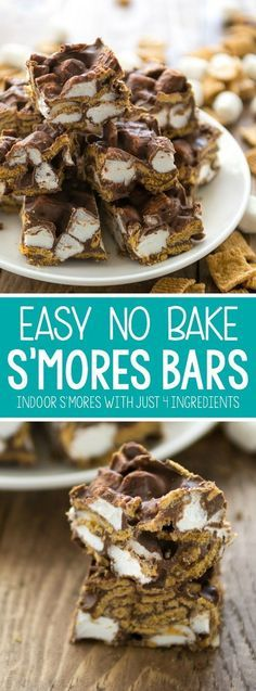 S'mores Bars EASY No Bake S'mores Bars - this easy indoor s'more recipe has just 4 ingredients and the kids can make it in minutes!EASY No Bake S'mores Bars - this easy indoor s'more recipe has just 4 ingredients and the kids can make it in minutes! Smores Dessert, Dessert Bars, Smores Bar Recipe, Dinner Dessert, Biscuits Brownies, Cookies Et Biscuits, No Bake Treats, Yummy Treats, Sweet Treats