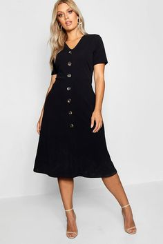 Womens Plus Button Front Midi Dress - Black - 20 Belted Shirt Dress, Tee Dress, Dress Up, Plus Size Party Dresses, Plus Size Outfits, Robes Midi, Metallic Dress, Bodycon Fashion, Luxury Dress