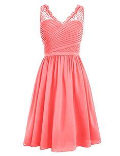 Dresstells® Short Homecoming Dress V-neck Ruched Chiffon Bridesmaid Prom Dress Coral Size 4 Dresstells http://www.amazon.com/dp/B0198EKINC/ref=cm_sw_r_pi_dp_XK63wb12RC0RD