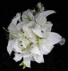 casablanca lily bouquets for brides | White Casablanca Lilies Real Touch Wedding Bouquet Set