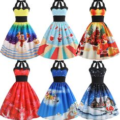 b389baf722a0 women vintage christmas printed halter sleeveless evening party prom swing  dress  fashion  clothing