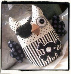 PIRATE OWL Plush  Black Cream Grey Stripes by MyLittleFeather, $45.00